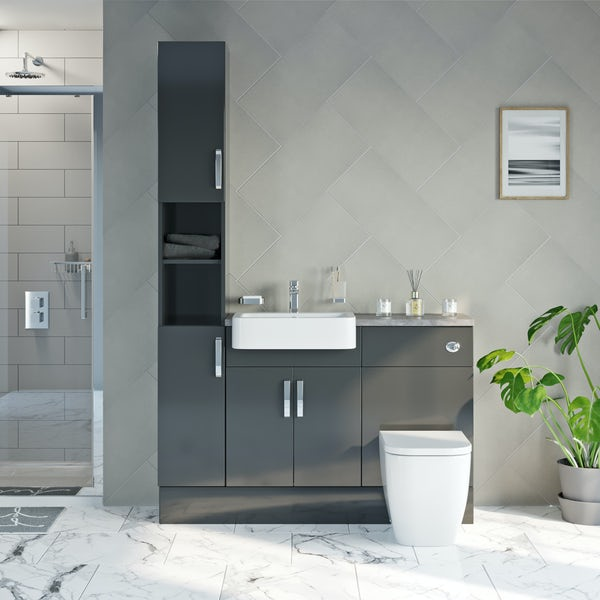 Mode Nouvel gloss grey tall fitted furniture combination with grey worktop