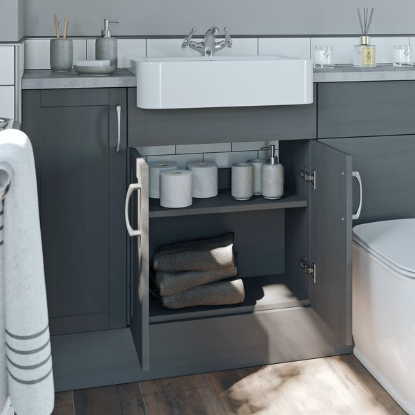 The Bath Co. Newbury dusk grey small fitted furniture & mirror combination with pebble grey worktop