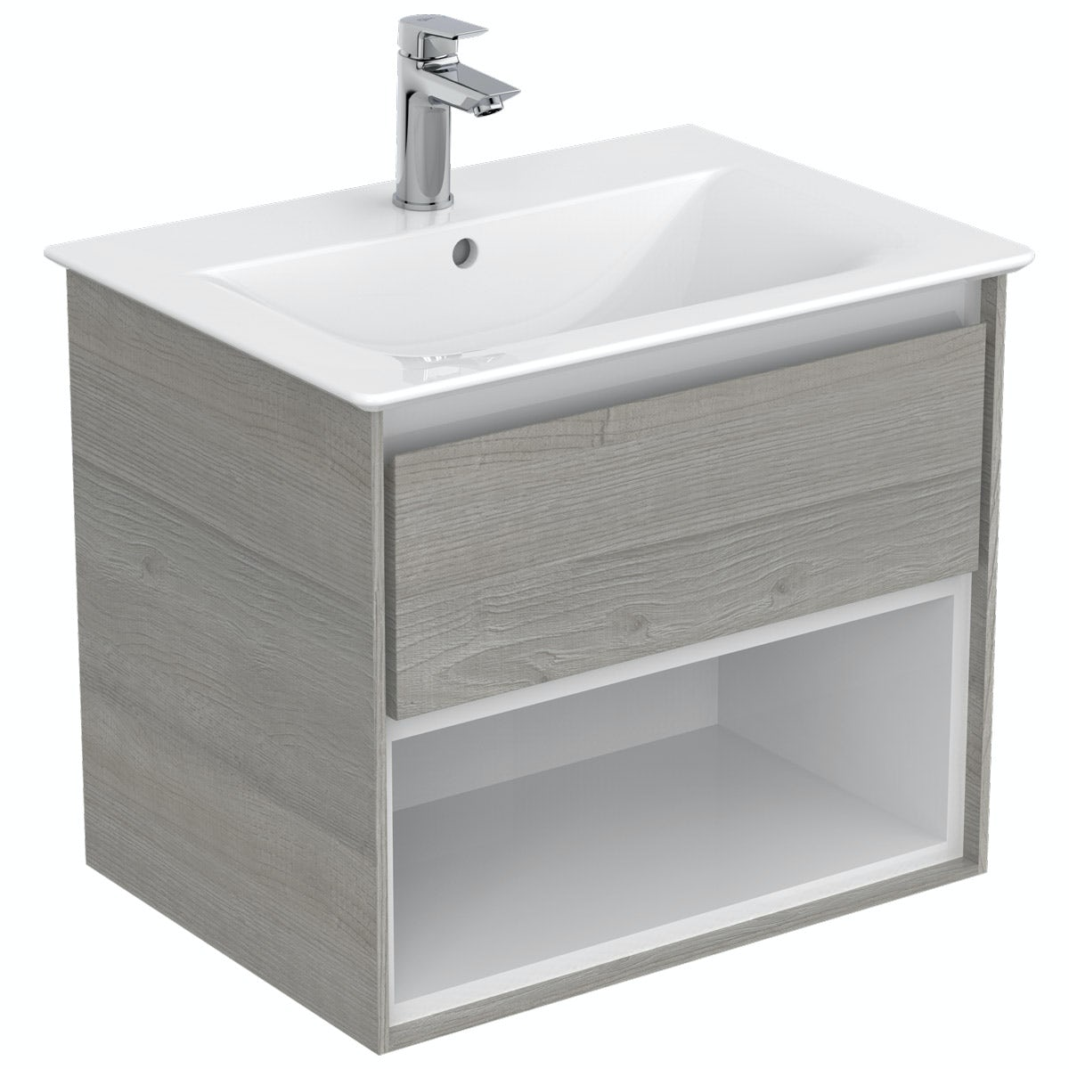 Ideal Standard Concept Air wood light grey and matt white open wall hung vanity unit and basin 600mm