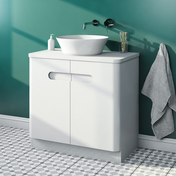 Mode Ellis white floorstanding vanity door unit and countertop 800mm with Bowery basin
