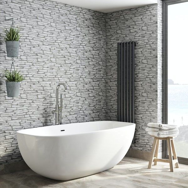 Fine Decor slate sidewall black / grey wallpaper
