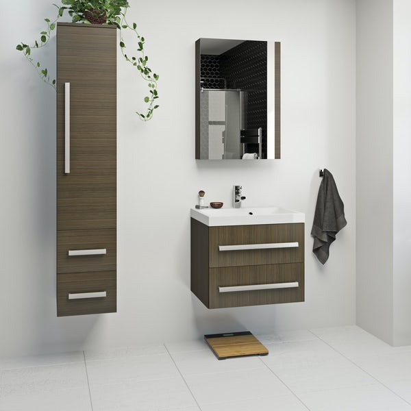 Orchard Wye walnut furniture package with wall hung vanity unit 600mm
