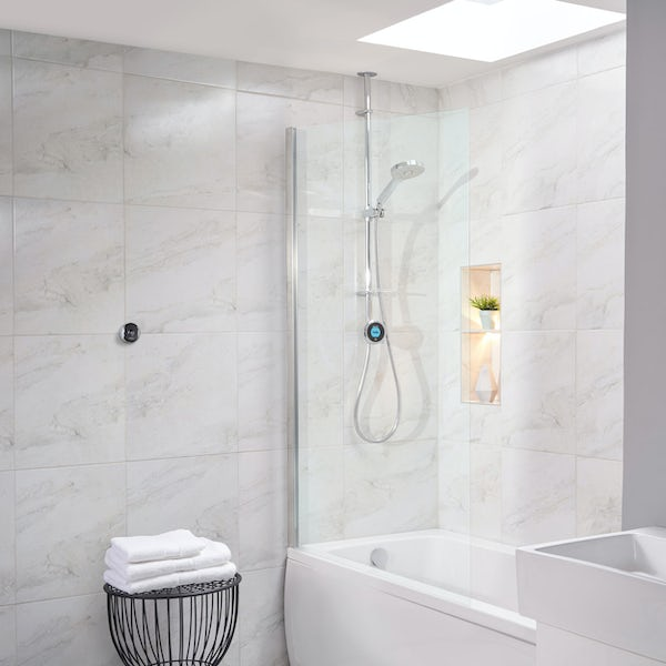 Aqualisa Optic Q Smart exposed shower with adjustable handset and bath overflow filler gravity pumped