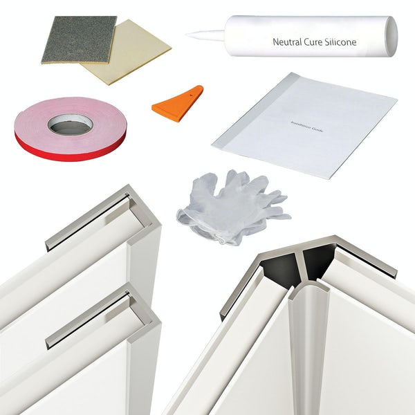 Orchard shower wall panel profile kit for corner installation