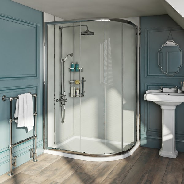 Louise Dear The Serenade Grey acrylic shower wall panel pack with left handed offset quadrant enclosure