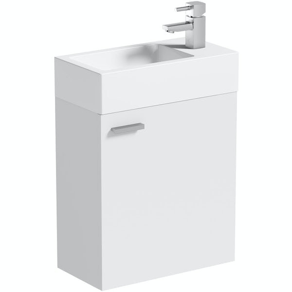 Clarity Compact white wall hung vanity unit and basin 410mm with tap