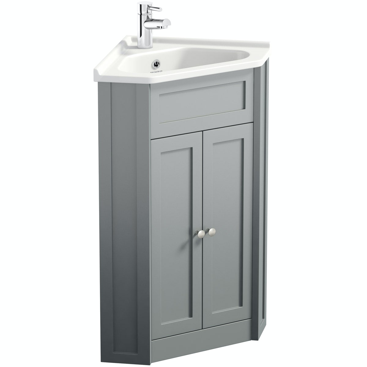The Bath Co Camberley Satin Grey Corner Floorstanding Vanity Unit And Ceramic Basin 580mm