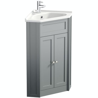 The Bath Co. Camberley satin grey corner floorstanding vanity unit and ceramic basin 580mm