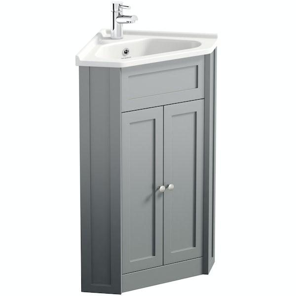 The Bath Co. Camberley satin grey corner unit and basin 580mm