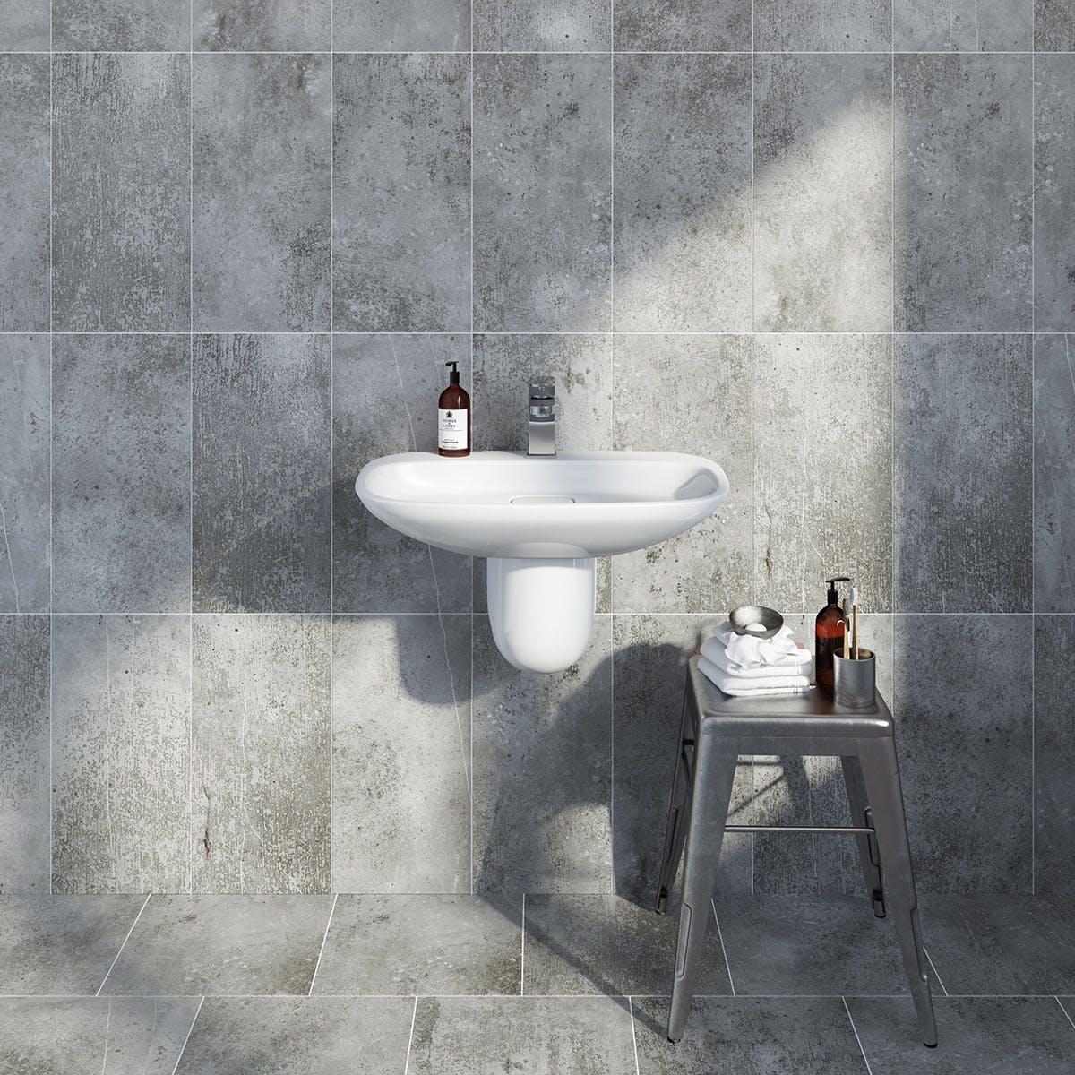 British Ceramic Tile Metropolis Dark Grey Matt Tile 248mm X 498mm Victoriaplum Com