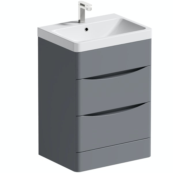 Mode Adler grey 600mm floorstanding vanity unit and basin