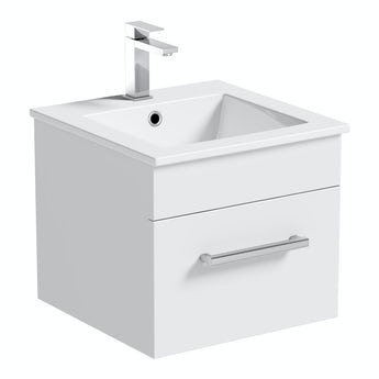 Orchard Derwent white wall hung vanity unit and ceramic basin 420mm
