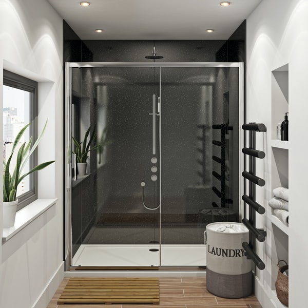 Mode Hardy shower door pack 1700 x 700 with Multipanel Economy Moonlit quartz shower wall panels