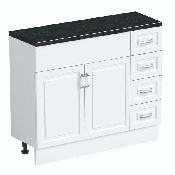 Orchard Florence white 650mm, multi drawer unit & plinth with black top