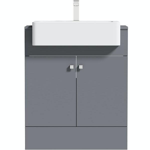 The Bath Co. Hatfield grey floorstanding vanity unit 667mm
