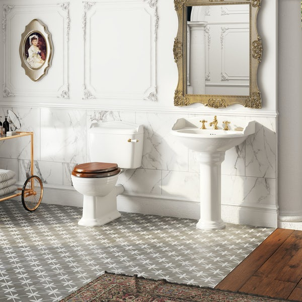 The Bath Co. Bellini close coupled toilet and full pedestal suite with incalux fittings and taps