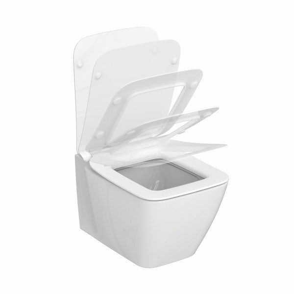 Ideal Standard Strada II wall hung toilet with soft close seat and wall mounting frame with push plate cistern