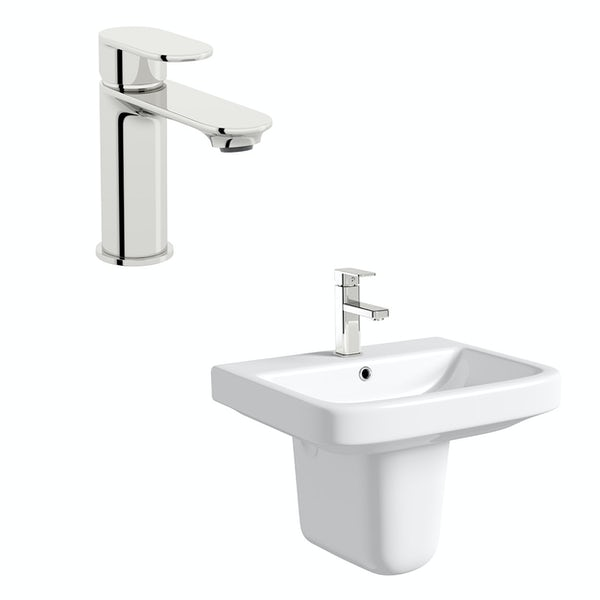 Mode Carter 1 tap hole semi pedestal basin 550mm with tap
