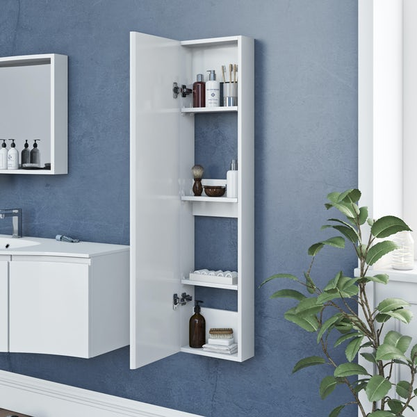 Accents Slimline white wall hung cabinet 1250 x 300mm