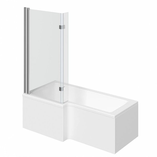 Mode L shaped left handed shower bath 1500mm with 8mm hinged shower screen