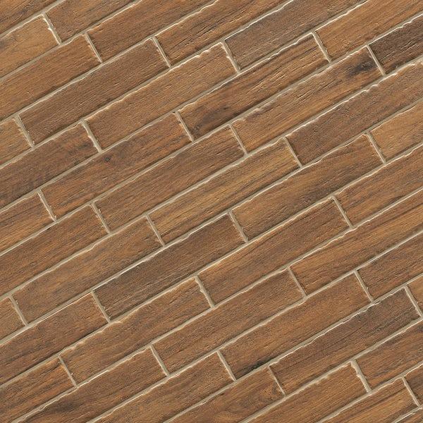 Arden mid wood effect matt wall and floor tile 105mm x 600mm
