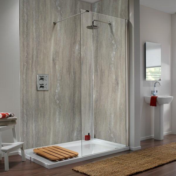 Showerwall Silver Travertine waterproof proclick shower wall panel