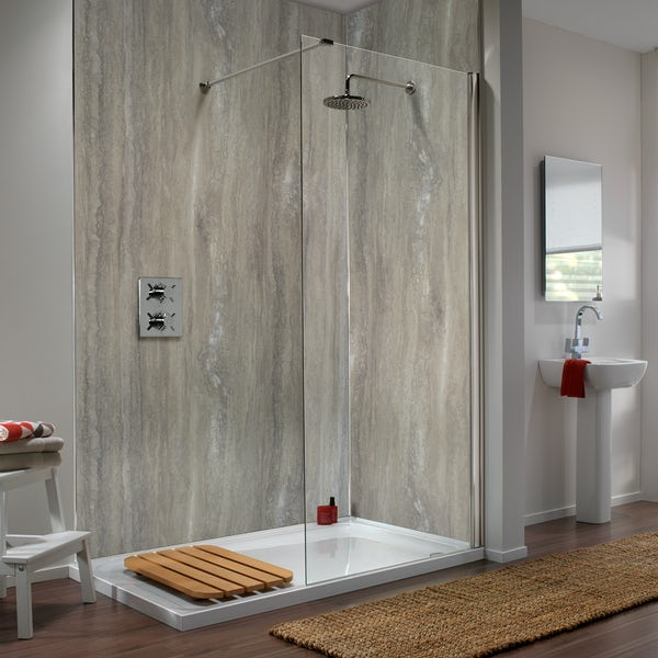 Showerwall Silver Travertine waterproof proclick shower wall panel