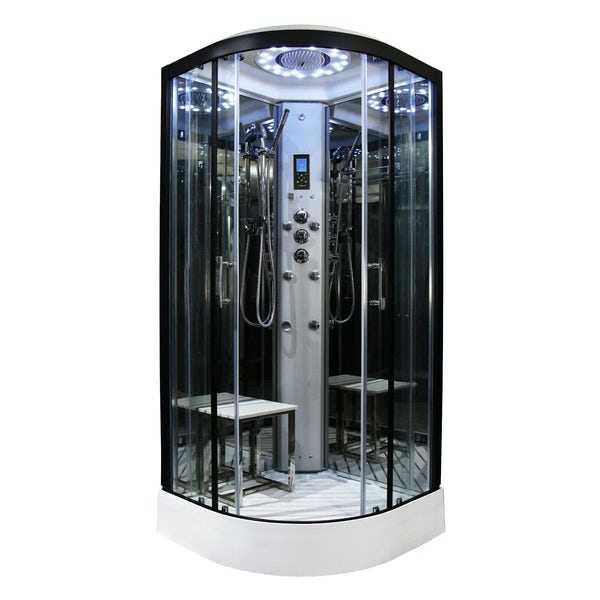 Insignia Platinum black framed quadrant hydro-massage shower cabin