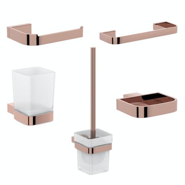 Mode Spencer rose gold ensuite 5 piece accessory set