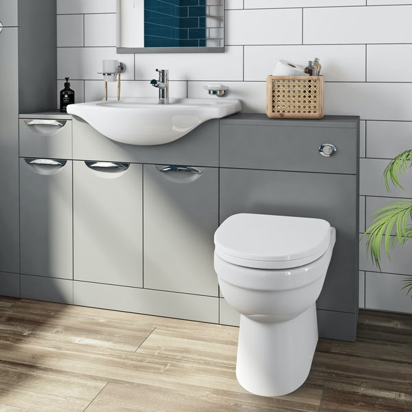 Orchard Elsdon stone grey 1155mm combination with Eden back to wall toilet and soft close seat