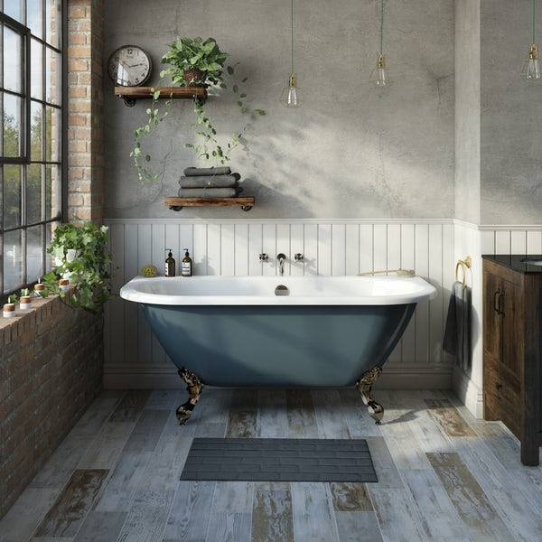 The Bath Co. Dalston province blue back to wall freestanding bath with antique bronze ball and claw feet