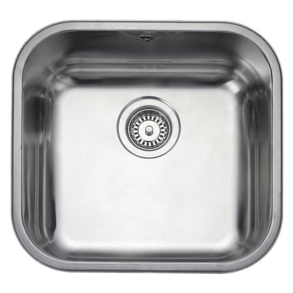 Rangemaster Atlantic Classic 1.0 bowl undermount kitchen sink with waste