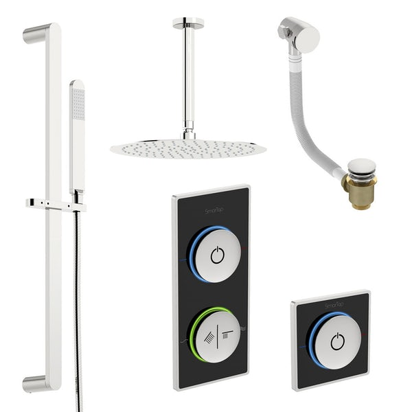 SmarTap black smart shower system with complete round ceiling shower bath set