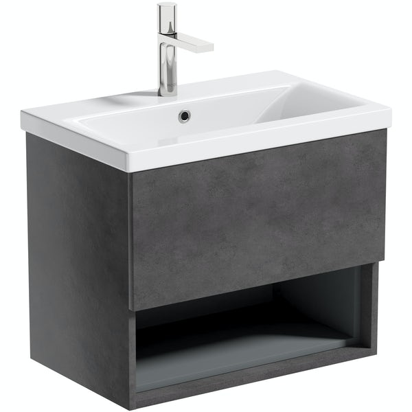 Mode Tate II riven grey wall hung vanity unit and ceramic basin 600mm