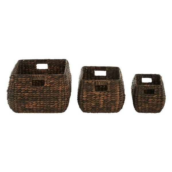 Set of 3 dark brown water hyacinth storage baskets