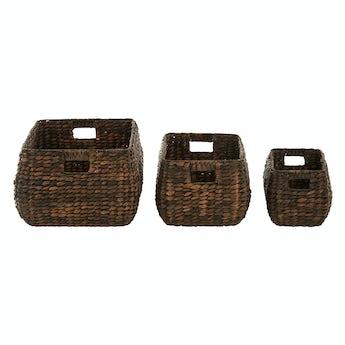 Set of 3 dark brown water hyacinth storage baskets