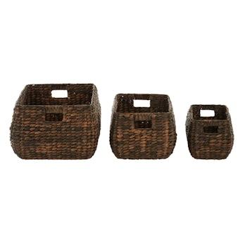 Accents Set of 3 dark brown water hyacinth storage baskets
