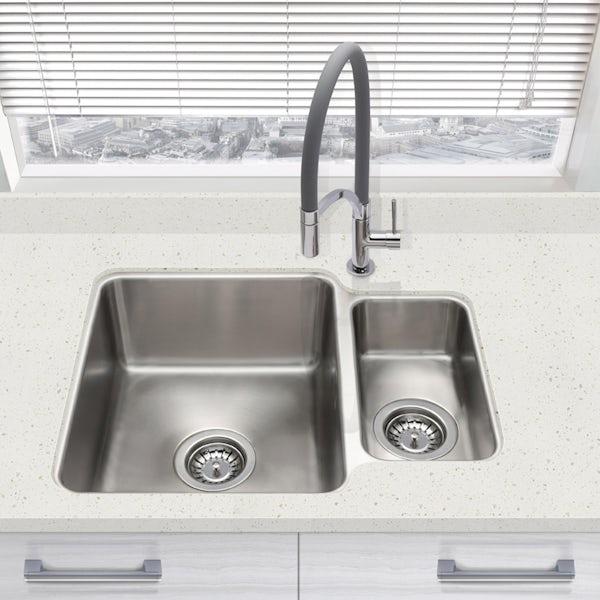 Schon Rydal universal undermount 1.5 bowl stainless steel kitchen sink with waste