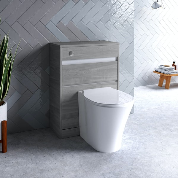 Ideal Standard Concept Air wood light grey and matt white back to wall unit, concealed cistern, push button and toilet with soft close seat