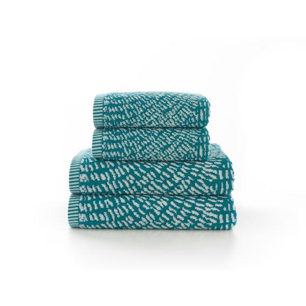 Deyongs Cannes 550gsm patterned 4 piece towel bale teal