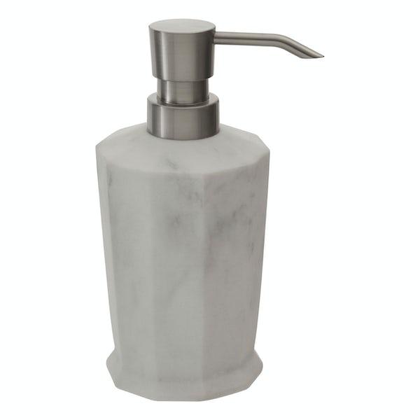 Accents Riviera geometric white marble effect soap dispenser