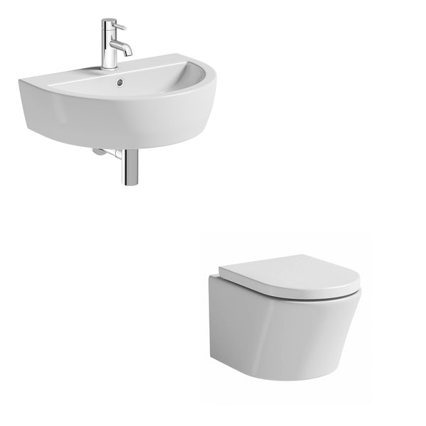 Tate wall hung toilet suite with wall hung basin 550mm