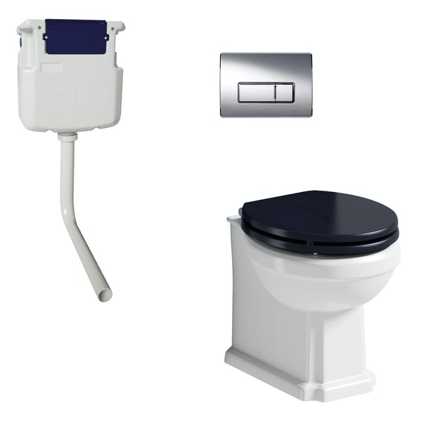 The Bath Co. Traditional back to wall toilet with sapphire blue soft close seat, concealed cistern and push plate