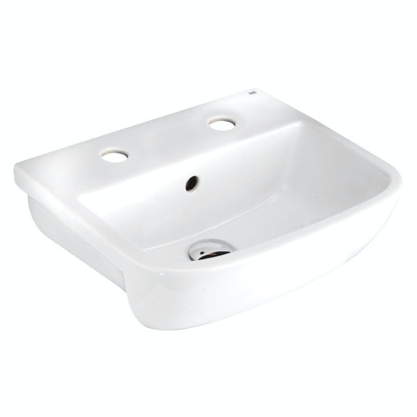 RAK Series 600 2 tap hole semi recessed basin 420mm