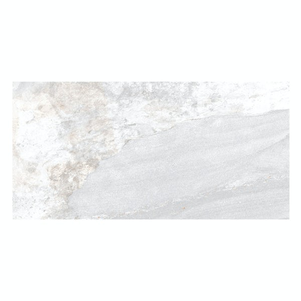 Meridien white stone effect matt wall and floor tile 308mm x 615mm