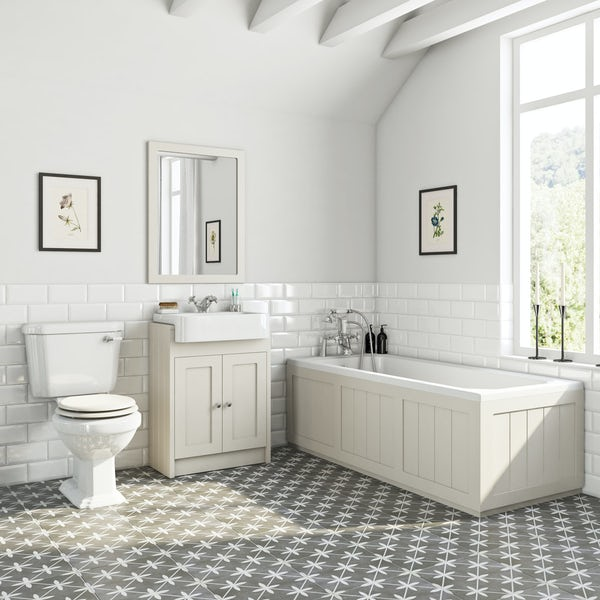 The Bath Co. Dulwich stone ivory furniture suite with straight bath 1700 x 700mm