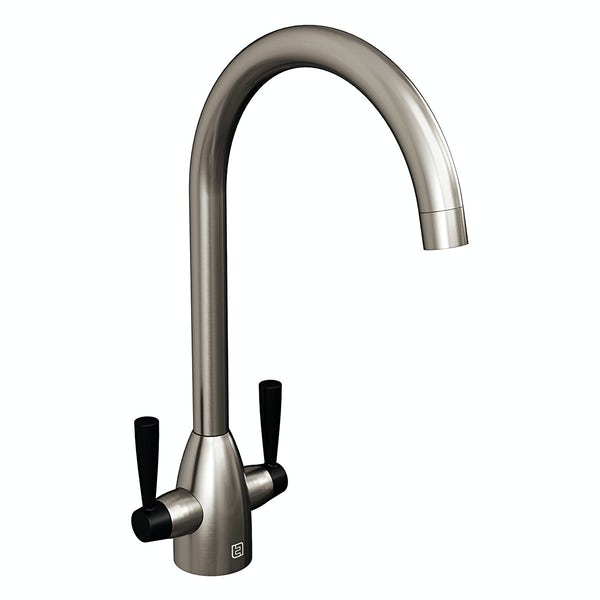The Tap Factory Vibrance kitchen mixer tap with nickel and vanto black finish