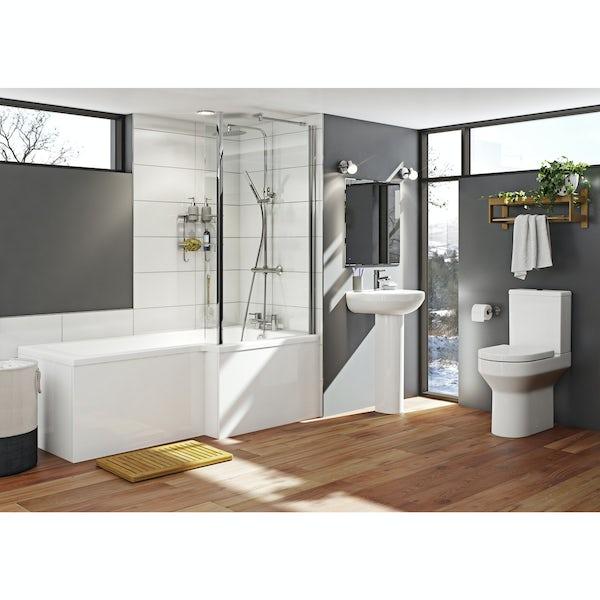 Oakley Bathroom Suite with Boston 1700 x 850 Shower Bath RH