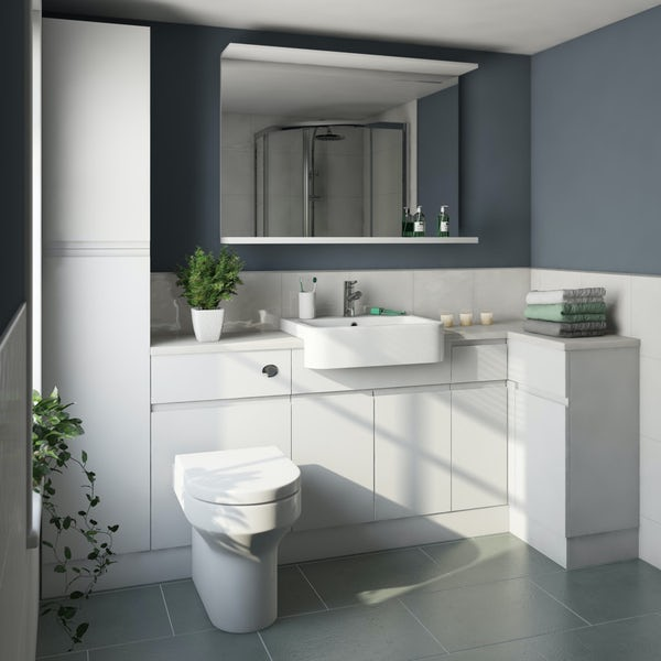 Orchard Wharfe white corner small storage fitted furniture pack with white countertop