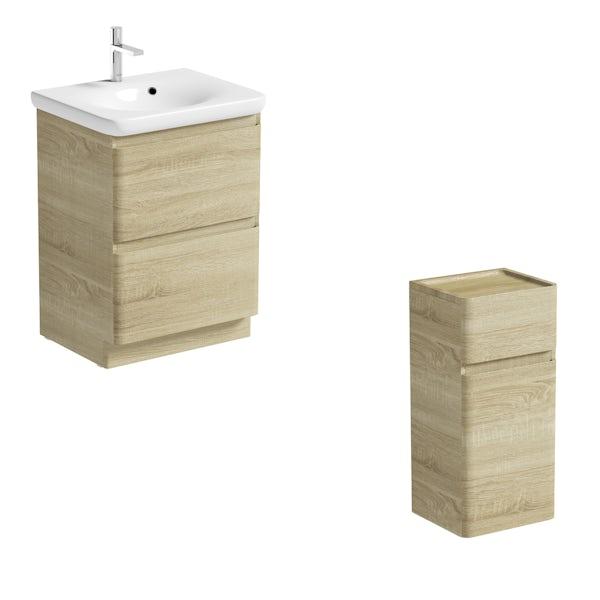 Mode Heath oak LED floorstanding vanity unit and basin 600mm and storage unit set